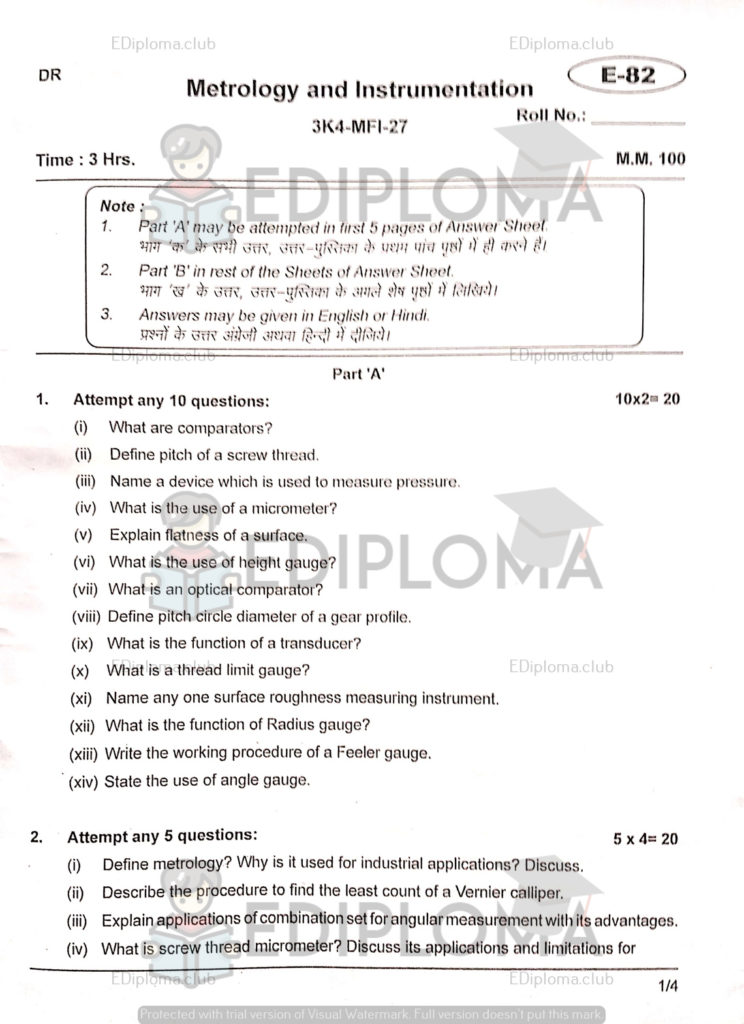 BTE Question Paper of Metrology and Instrumentation 2018