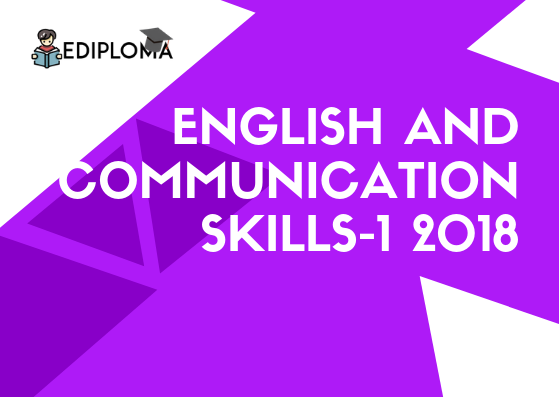 BTE Question Paper of English and Communication Skills-1 2018